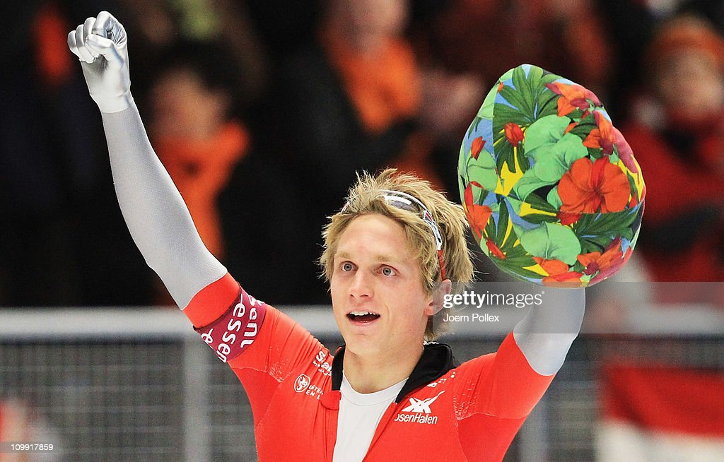 <a gi-track='captionPersonalityLinkClicked' href=/galleries/search?phrase=Havard+Bokko&family=editorial&specificpeople=725769 ng-click='$event.stopPropagation()'>Havard Bokko</a> of Norway celebrates after winning the 1000m heats during Day 1 of the Essent ISU Speed Skating World Cup at the Max Aicher Arena on March 10, 2011 in Inzell, Germany.