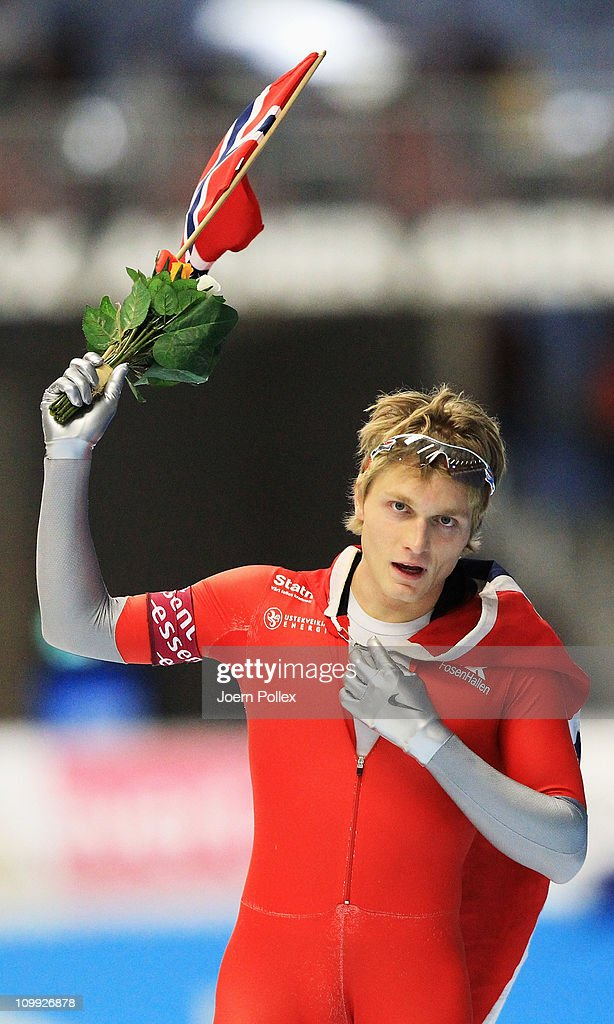 <a gi-track='captionPersonalityLinkClicked' href=/galleries/search?phrase=Havard+Bokko&family=editorial&specificpeople=725769 ng-click='$event.stopPropagation()'>Havard Bokko</a> of Norway celebrates after winning the 1500m heats during Day 1 of the Essent ISU Speed Skating World Cup at the Max Aicher Arena on March 10, 2011 in Inzell, Germany.