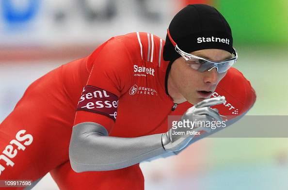 Havard Bokko of Norway competes in the 3000m heats during Day 1 of the Essent ISU Speed Skating World Cup at the Max Aicher Arena on March 10 2011 in...