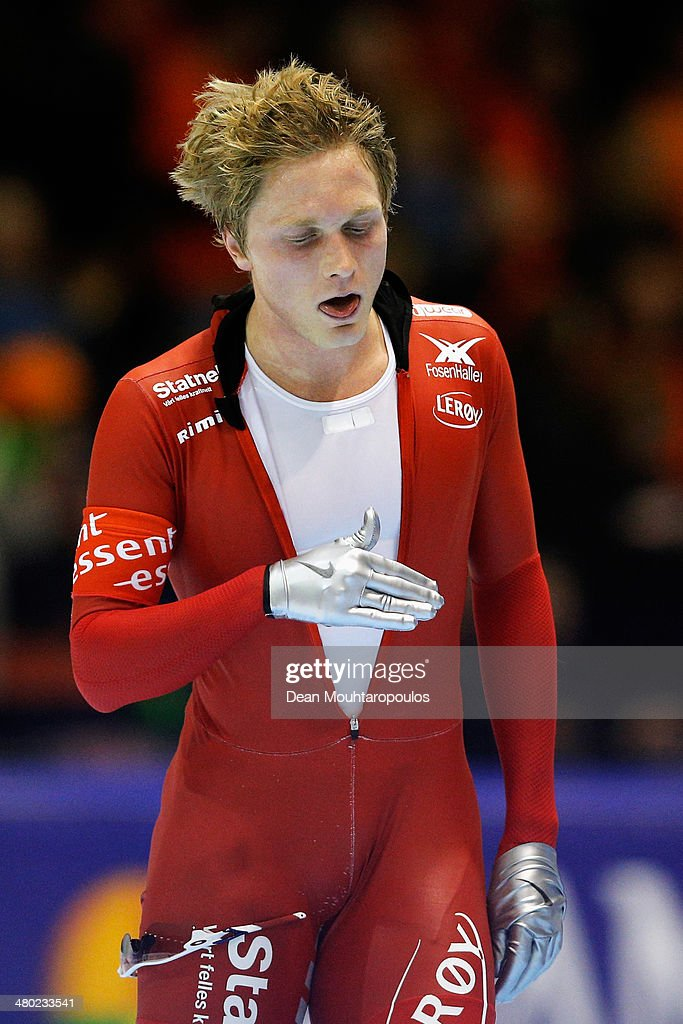 <a gi-track='captionPersonalityLinkClicked' href=/galleries/search?phrase=Havard+Bokko&family=editorial&specificpeople=725769 ng-click='$event.stopPropagation()'>Havard Bokko</a> of Norway reacts after he competes in the mens 10000m race during day two of the Essent ISU World Allround Speed Skating Championships at the Thialf Stadium on March 23, 2014 in Heerenveen, Netherlands.