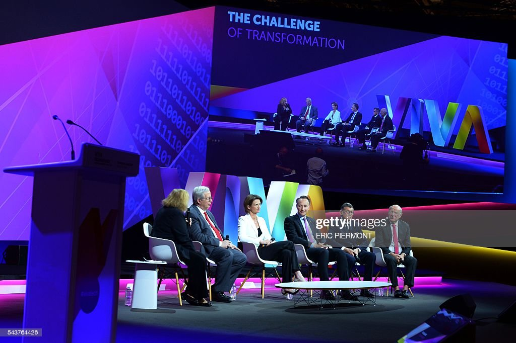 Havard Business School Professor Rosabeth Moss Kanter, Valeo Chairman and CEO Jacques Aschenbroich, Engie CEO Isabelle Kocher, AXA Deputy CEO and incoming CEO Thomas Buberl, Carrefour Chairman and CEO Georges Plassat and IAC and Expedia Chairman and Senior Executive Barry Diller attend a session at the Viva Technology event in Paris on June 30, 2016. / AFP / ERIC