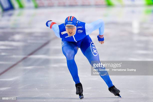 Havard Holmefjord Lorentzen of Norway competes in the men's 1000 meter final during day 3 of the ISU World Cup Speed Skating event on December 10...