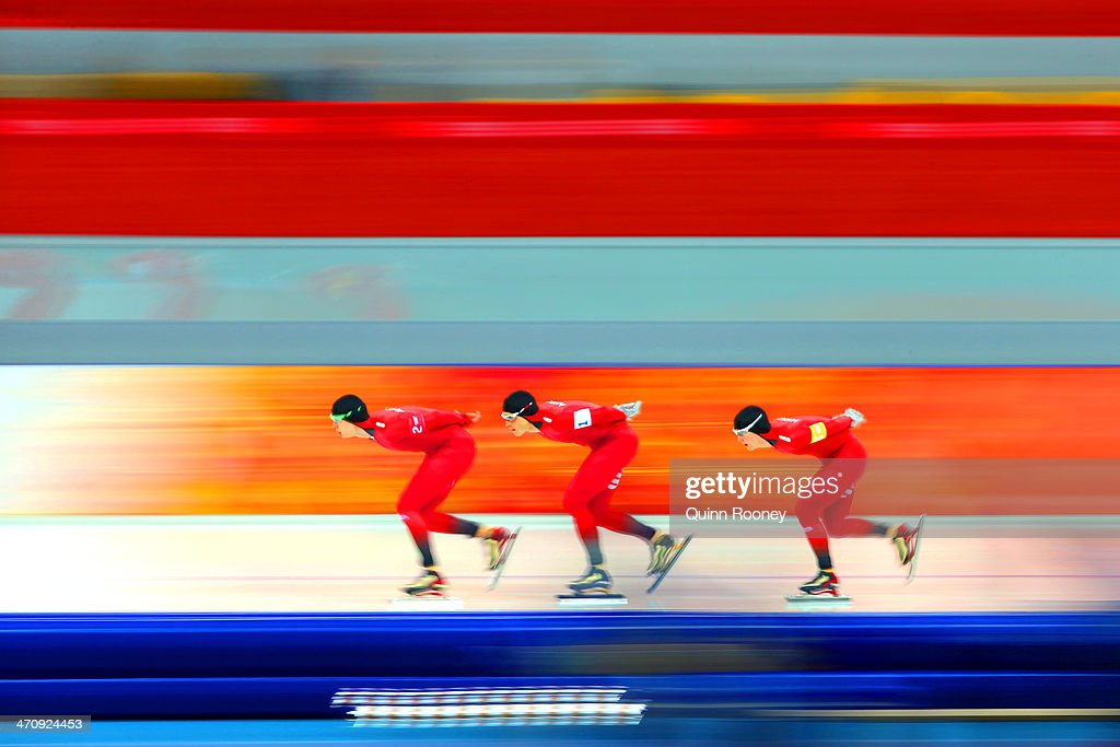 Havard Lorentzen, Havard Bokko and Sverre Lunde Pedersen of Norway compete during the Men's Team Pursuit Quarterfinals Speed Skating event on day fourteen of the Sochi 2014 Winter Olympics at Adler Arena Skating Center on February 21, 2014 in Sochi, Russia.