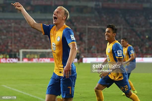 Havard Nielsen of Braunschweig celebrates the second goal during the Second Bundesliga match between Fortuna Duesseldorf and Eintracht Braunschweig...