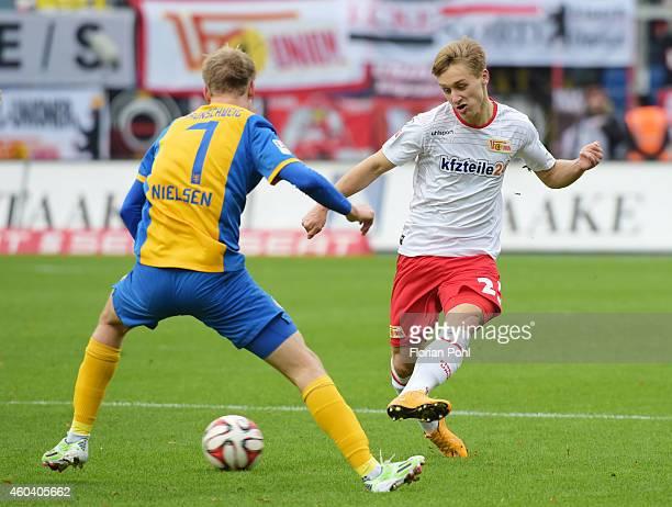Havard Nielsen of Eintracht Braunschweig and Bjoern Jopek of 1 FC Union Berlin in action during the game between Eintracht Braunschweig and Union...