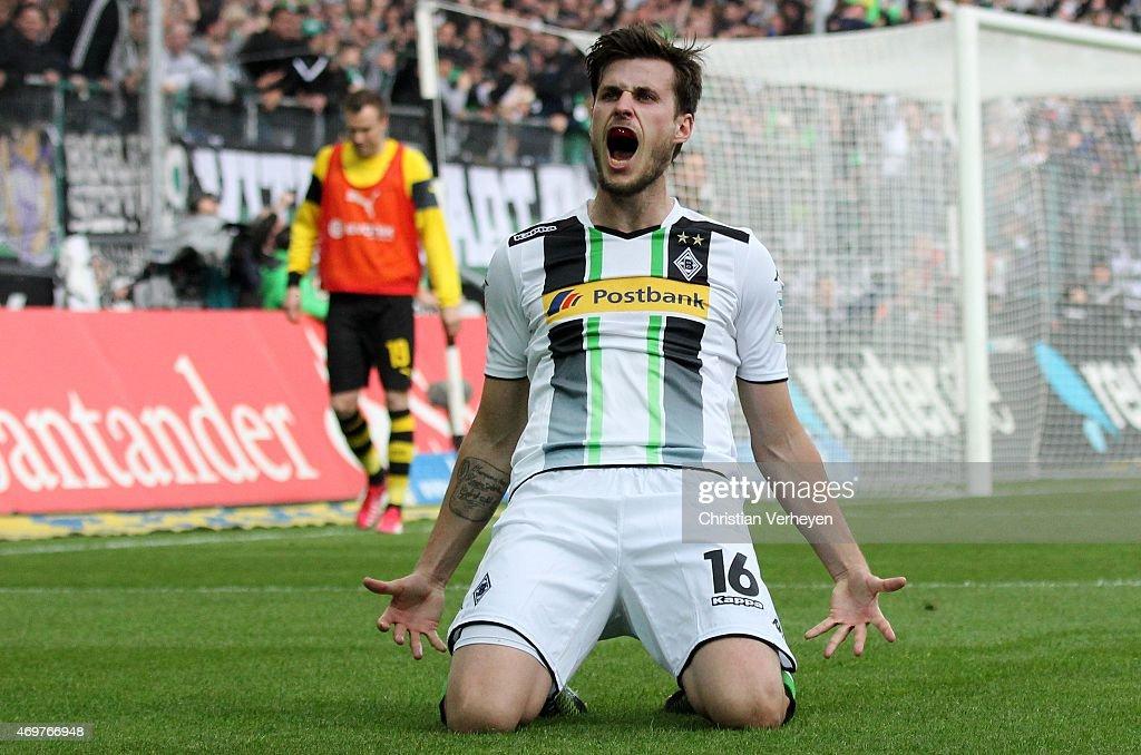 Havard Nordtveit of Borussia Moenchengladbach celebrate after their third goal during the Bundesliga match between Borussia Moenchengladbach and Borussia Dortmund at Borussia Park Stadium on April 11, 2015 in Moenchengladbach, Germany.