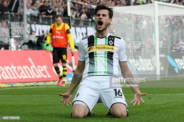 Havard Nordtveit of Borussia Moenchengladbach celebrate after their third goal during the Bundesliga match between Borussia Moenchengladbach and...