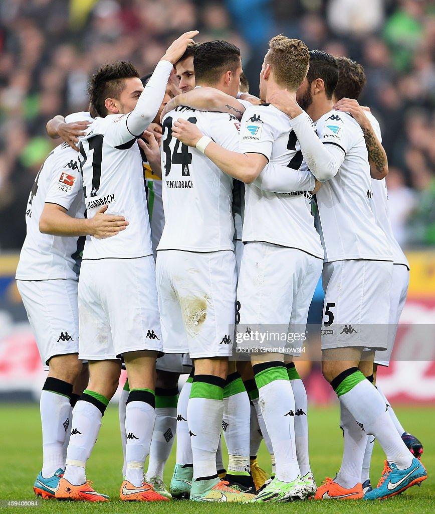 Havard Nordtveit of Borussia Moenchengladbach celebrates as he scores their first goal during the Bundesliga match between Borussia Moenchengladbach and Eintracht Frankfurt at Borussia Park Stadium on November 22, 2014 in Moenchengladbach, Germany.