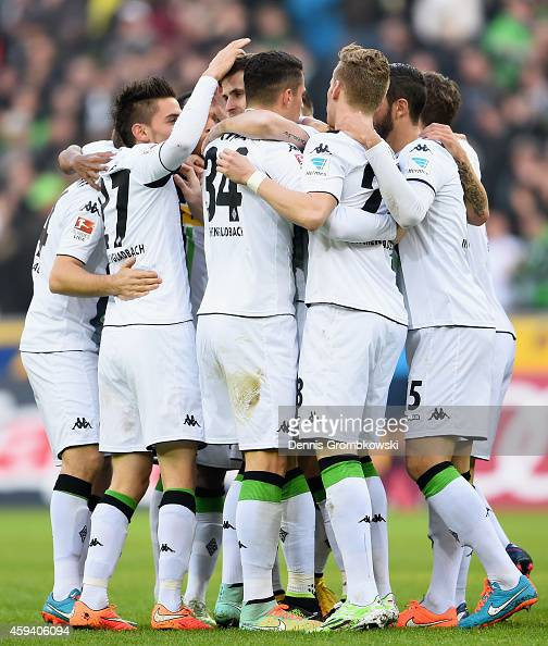 Havard Nordtveit of Borussia Moenchengladbach celebrates as he scores their first goal during the Bundesliga match between Borussia Moenchengladbach...