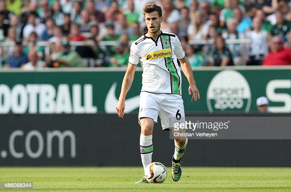 Havard Nordtveit of Borussia Moenchengladbach controls the ball during the Bundesliga match between Werder Bremen and Borussia Moenchengladbach at...