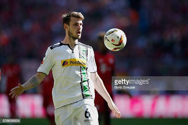 Havard Nordtveit of Borussia Moenchengladbach controls the ball during the Bundesliga match between Bayern Muenchen and Borussia Moenchengladbach at...