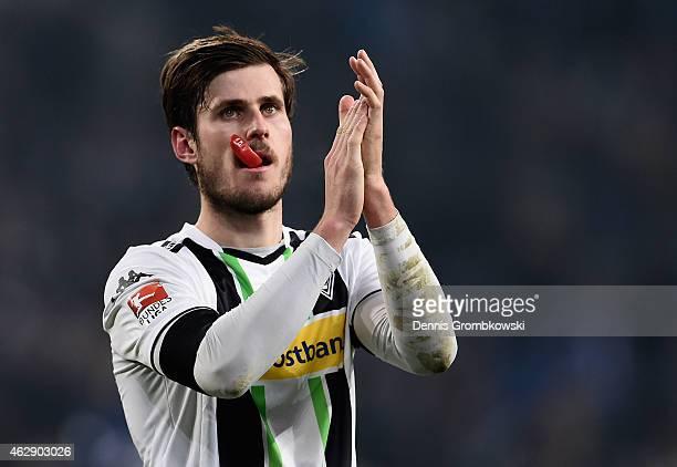 Havard Nordtveit of Borussia Moenchengladbach looks dejected after the Bundesliga match between FC Schalke 04 and Borussia Moenchengladbach at...