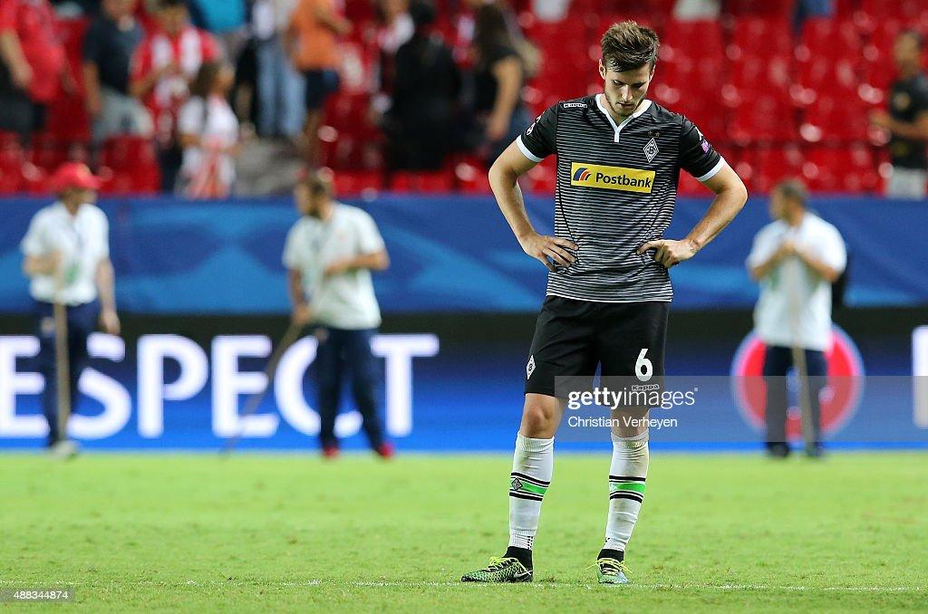 Havard Nordtveit of Borussia Moenchengladbach reacts during the UEFA Champions League match between FC Sevilla and Borussia Moenchengladbach at Estadio Ramon Sanchez Pizjuan on Septmeber 15, 2015 in Seville, Spain.