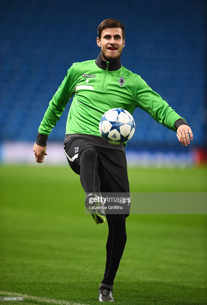 Havard Nordtveit of Borussia Moenchengladbach takes part in a VfL Borussia Moenchengladbach training session prior to the UEFA Champions League match against Manchester City at Etihad Stadium on December 7, 2015 in Manchester, United Kingdom.