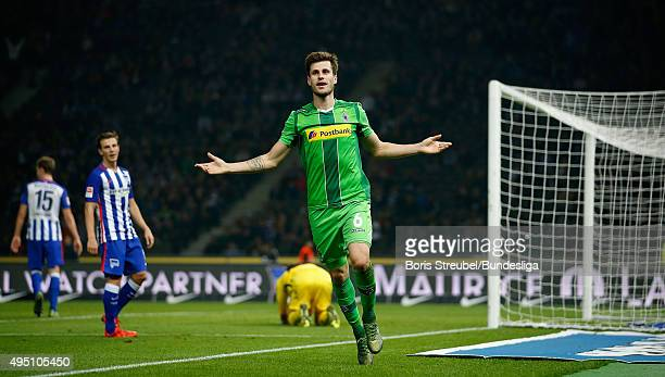 Havard Nordtveit of Moenchengladbach celebrates after scoring his team's fourth goal during the Bundesliga match between Hertha BSC and Borussia...
