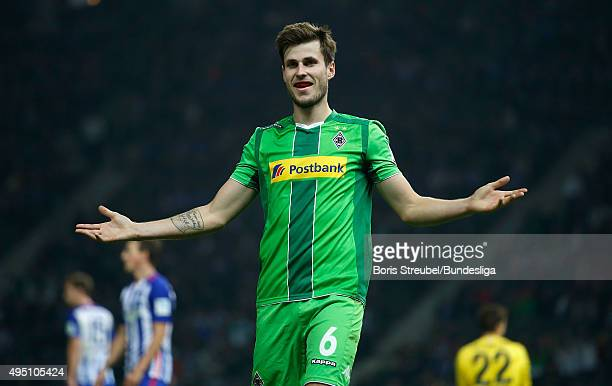 Havard Nordtveit of Moenchengladbach celebrates his team's fourth goal during the Bundesliga match between Hertha BSC and Borussia Moenchengladbach...