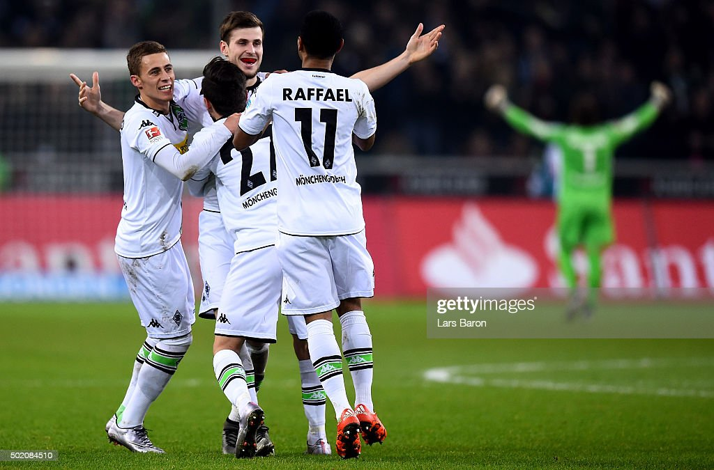 Havard Nordtveit of Moenchengladbach celebrates with team mates after scoring his teams second goal during the Bundesliga match between Borussia Moenchengladbach and SV Darmstadt 98 at Borussia-Park on December 20, 2015 in Moenchengladbach, Germany.