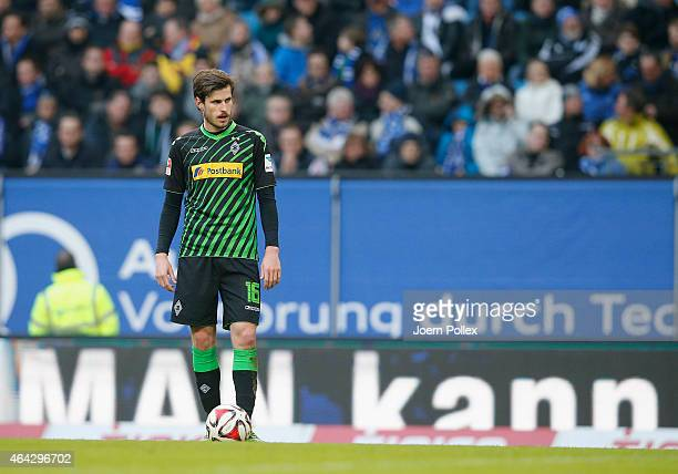 Havard Nordtveit of Moenchengladbach looks on during the Bundesliga match between Hamburger SV and Borussia Moenchengladbach at Imtech Arena on...