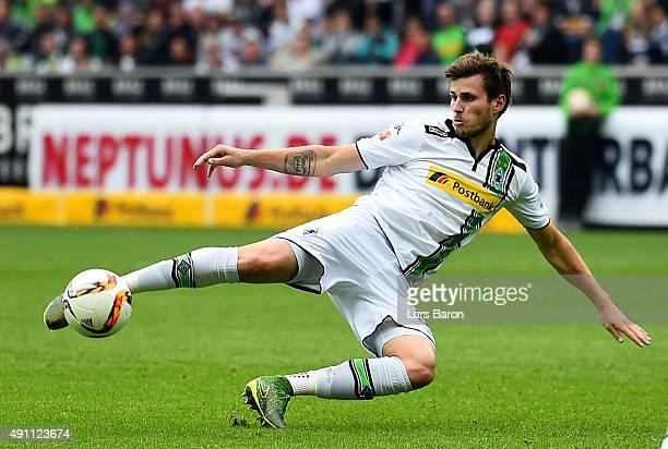 Havard Nordtveit of Moenchengladbach scores his teams first goalduring the Bundesliga match between Borussia Moenchengladbach and VfL Wolfsburg at...