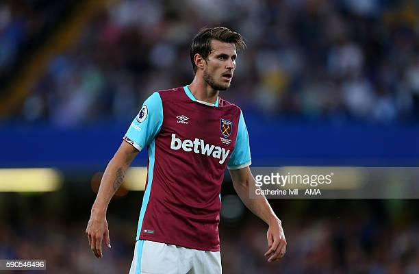 Havard Nordtveit of West Ham during the Premier League match between Chelsea and West Ham United at Stamford Bridge on August 15 2016 in London...