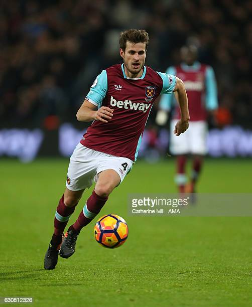 Havard Nordtveit of West Ham during the Premier League match between West Ham United and Manchester United at London Stadium on January 2 2017 in...