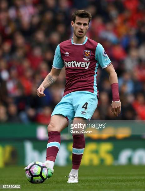 Havard Nordtveit of West Ham during the Premier League match between Stoke City and West Ham United at Bet365 Stadium on April 29 2017 in Stoke on...