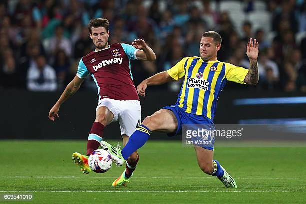 Havard Nordtveit of West Ham United and Billy Kee of Accrington Stanley in action during the EFL Cup Third Round match between West Ham United and...