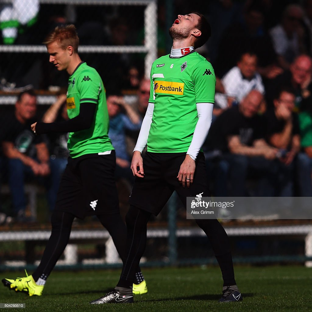 Havard Nordtveit reacts during a Borussia Moenchengladbach training session on day 5 of the Bundesliga Belek training camps at Maxx Royal Golf Resort on January 9, 2016 in Belek, Turkey.