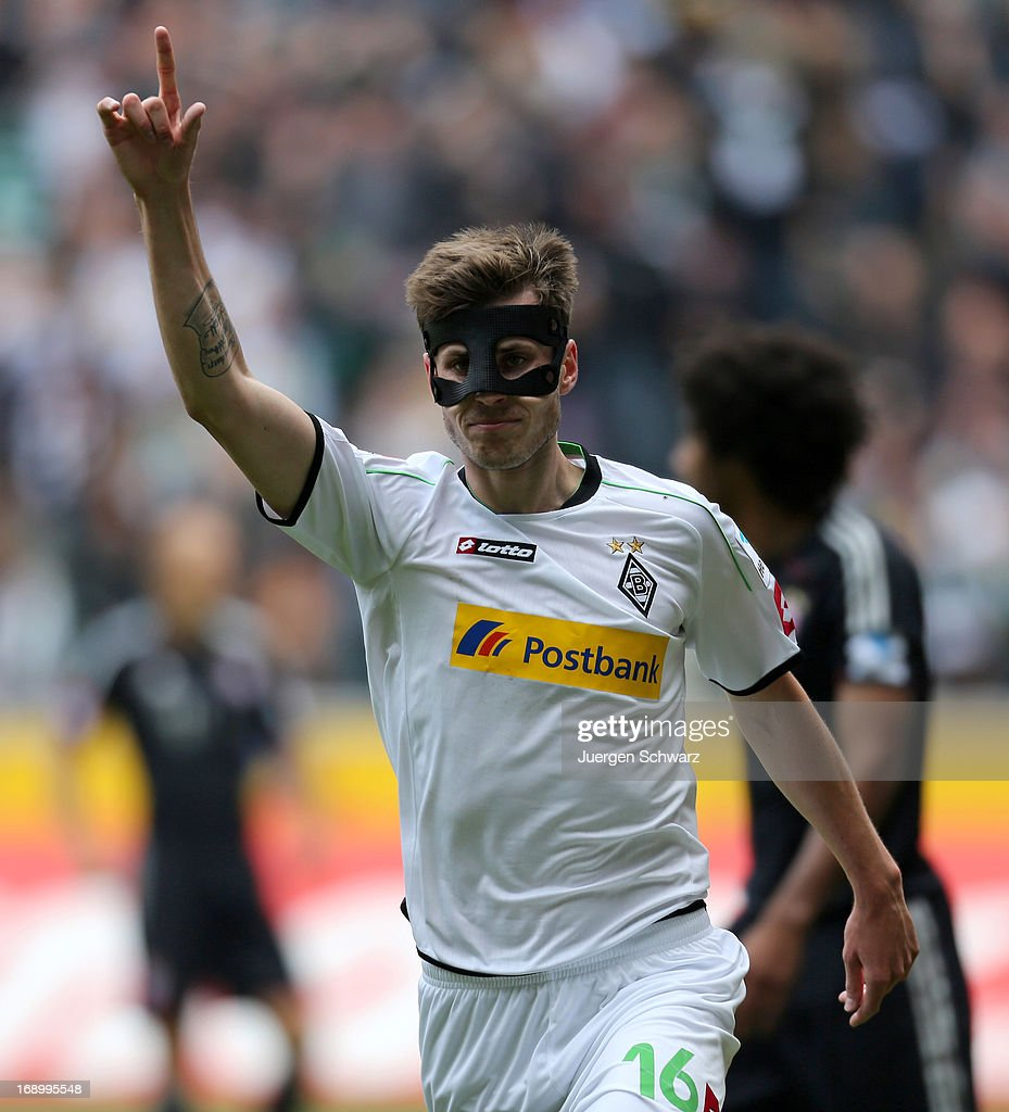 Havard Nordveit of Moenchengladbach celebrates during the Bundesliga match between Borussia Moenchengladbach and Bayern Muenchen at Borussia Park Stadium on May 18, 2013 in Moenchengladbach, Germany.