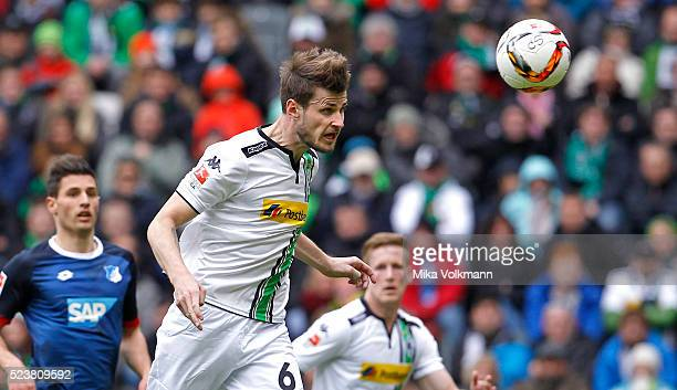 Havard Nordveit of Moenchengladbach jumps for a header during the Bundesliga match between Borussia Moenchengladbach and TSG 1899 Hoffenheim on April...