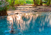 Sunlight bounces off the far cliffs and lights up reflections in Havasu Creek on the Havasupai Indian Reservation in the Grand Canyon.