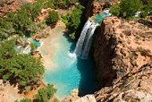 Havasu Falls Waterfall from Above in the Daytime