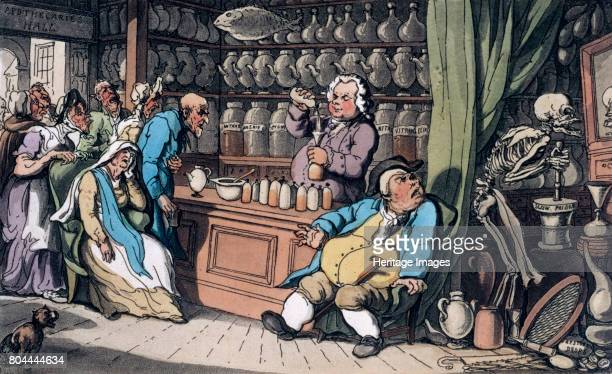 I have a secret art to cure/ Each malady which men endure' 1814 Scene in an apothecary's shop From the English Dance of Death 1814 Artist Thomas...