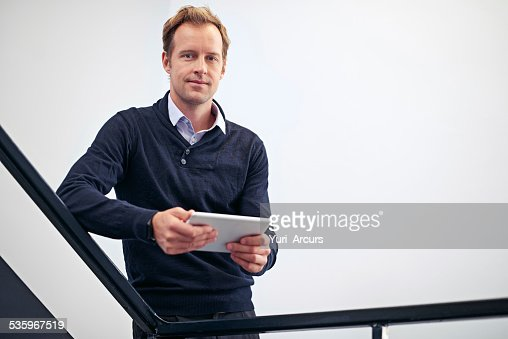 Have tablet will organize! : Stock Photo