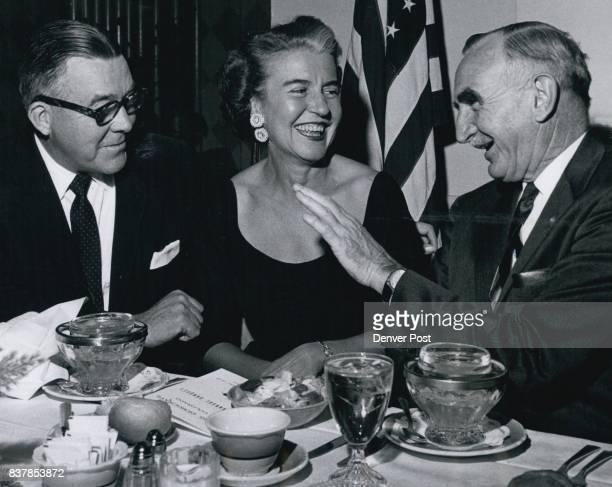 OCT 2 1958 OCT 3 1958 'Have You Heard The Latest' Sen John A Carroll of Colorado Mrs Carroll and Oregon Sen Wayne Morse share a joke at the annual...