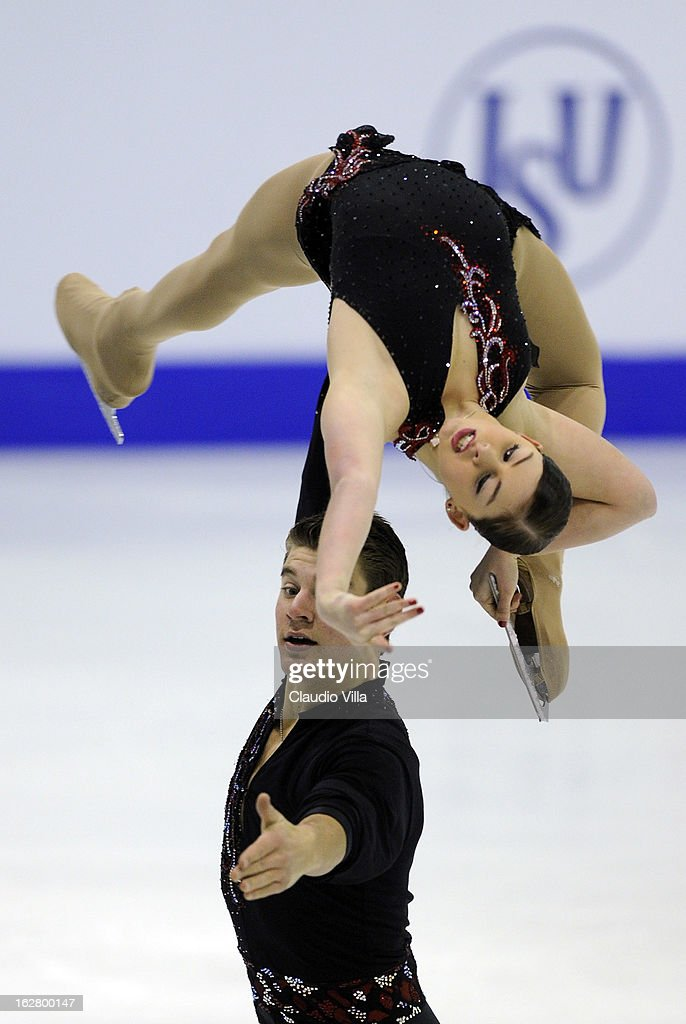Haven Denney and Brandon Frazier of China skate in the Pairs Short Program during day 3 of the ISU World Junior Figure Skating Championships at Agora Arena on February 27, 2013 in Milan, Italy.