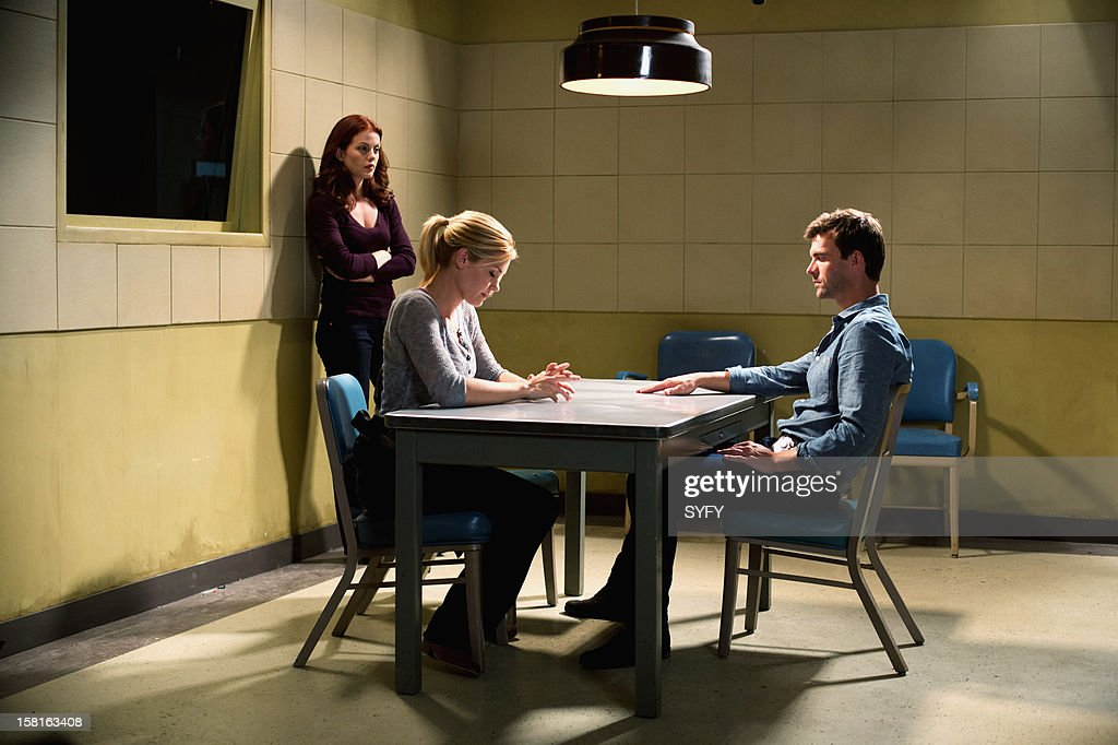 Haven -- 'Last Goodbyes' Episode 311 -- Pictured: (l-r) Bree Williamson as Claire Callahan, Emily Rose as Audrey Parker, Lucas Bryant as Nathan Wuornos --