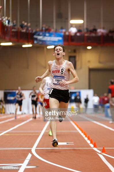 Haverford's Chris Stadler hits the finish line first in the Men's 5000 Meter Run at the Division III Men's and Women's Indoor Track and Field...