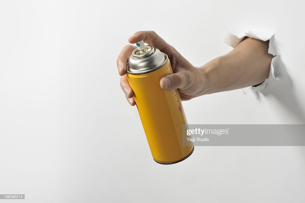 Having a hand spray cans : Stock Photo
