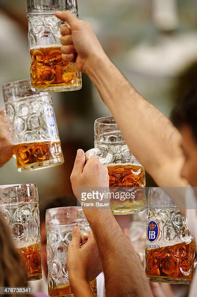 Having a stein of Munich Lager beer at the Oktoberfest on September 19 2010 in Munich Germany