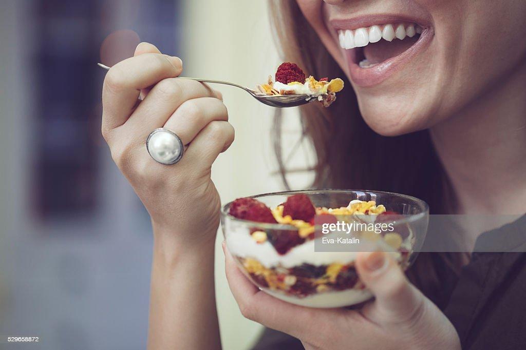 Having breakfast : Stock Photo