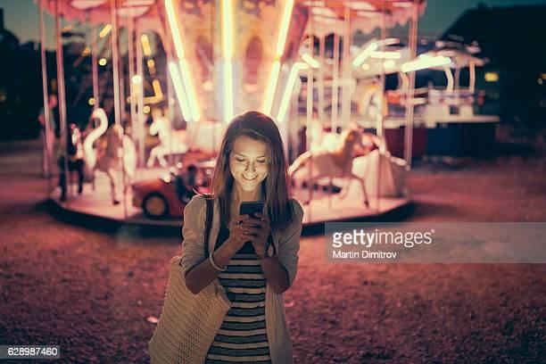 Having fun at the amusement park
