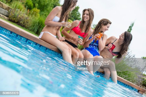 Having fun at the pool : Stock Photo