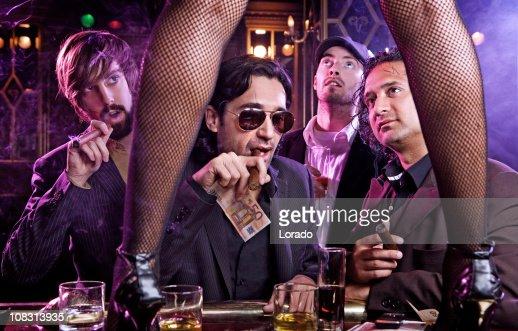 having fun guys in bar