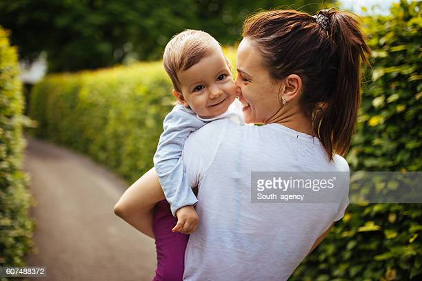 Having fun with mom outdoors
