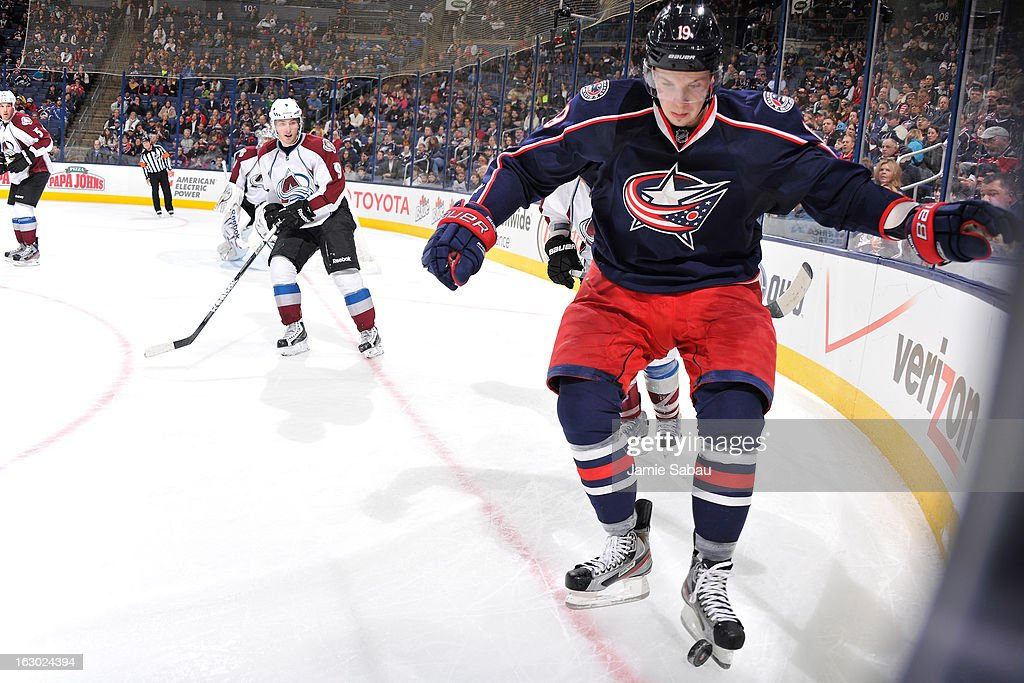 Having lost his stick <a gi-track='captionPersonalityLinkClicked' href=/galleries/search?phrase=Ryan+Johansen&family=editorial&specificpeople=6698841 ng-click='$event.stopPropagation()'>Ryan Johansen</a> #19 of the Columbus Blue Jackets kicks the puck to a teammate in the third period against the Colorado Avalanche on March 3, 2013 at Nationwide Arena in Columbus, Ohio. Columbus defeated Colorado 2-1 in overtime.