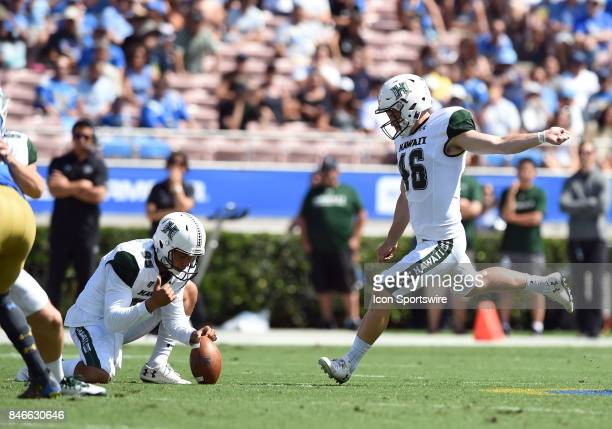 Hawai'i Alex Trifonovitch kicks a field goal during a college football game between the Hawai'i Rainbow Warriors and the UCLA Bruins on September 09...
