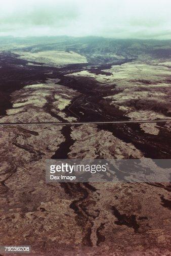 USA, Hawaii, Big Island, highway on lava field, aerial view : Stock Photo