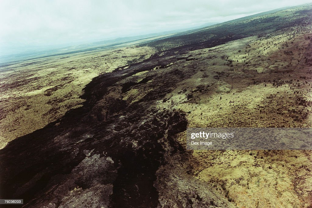 USA, Hawaii, Big Island, lava field, aerial view : Stock Photo
