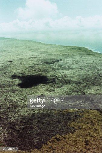 USA, Hawaii, Big Island, lava field, aerial view : Stock Photo